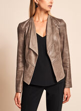 Vex - Open Front Faux Leather Jacket , Brown, hi-res