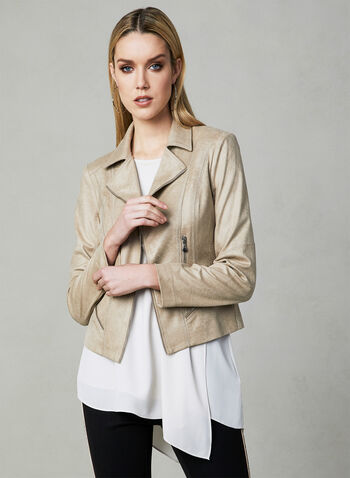 Vex - Faux Suede Jacket, Off White, hi-res,