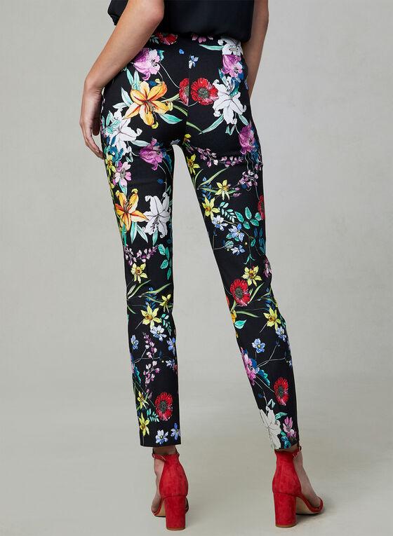 Joseph Ribkoff - Floral Print Slim Leg Pants, Black