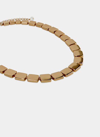 Collier court à carrés métallisés, Or, hi-res