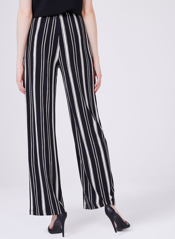 Striped Wide Leg Pull-On Pants, Black, hi-res