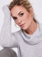 Wool & Angora Cowl Neck Tunic, Grey, hi-res
