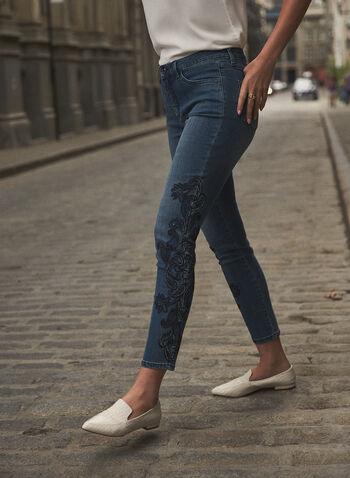 Joseph Ribkoff - Floral Embroidery Jeans, Blue,  fall winter 2021, Joseph Ribkoff, Frank Lyman, pants, denim, stretch denim, jeans, mid rise, slim leg, 5 pocket, belt loops, embroidery, embroidered, floral, crystal, embellished