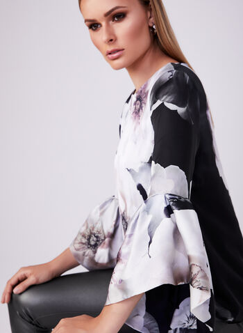 Frank Lyman - Floral Print Blouse, Black, hi-res