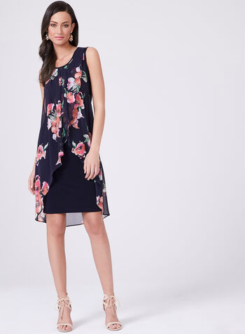 Frank Lyman - Chiffon Floral Print Dress, Blue, hi-res