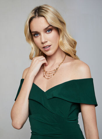BA Nites - Off-the-Shoulder Dress, Green,  BA Nites, dress, cocktail dress, empire, pleating, ruching, off the shoulder, fall 2019, winter 2019