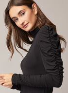 Ruched Sleeve Mock Neck Top , Black