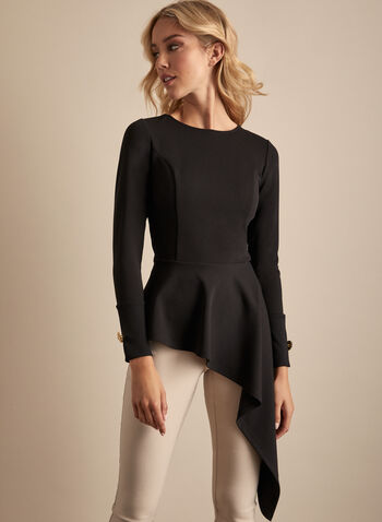 Asymmetric Hemline Top, Black,  top, asymmetric, round neck, long sleeves, cuff button, long, stretchy, crepe, spring summer 2020