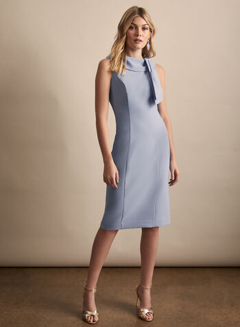 Harper Rose - Sleeveless Tie Detail Dress, Blue,  dress, evening, cocktail, tie, stretchy, crepe, sleeveless, spring summer 2020