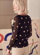 Polka Dot Print Mesh Top, Black