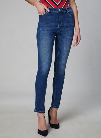 Distressed Slim Leg Jeans, Blue, hi-res,  jeans, distressed, slim leg, spring 2019