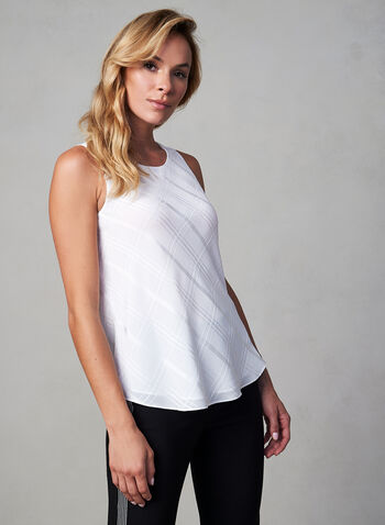 Sleeveless Jewel Neck Blouse, Off White,  chiffon blouse, sleeveless top, lined blouse, camisole