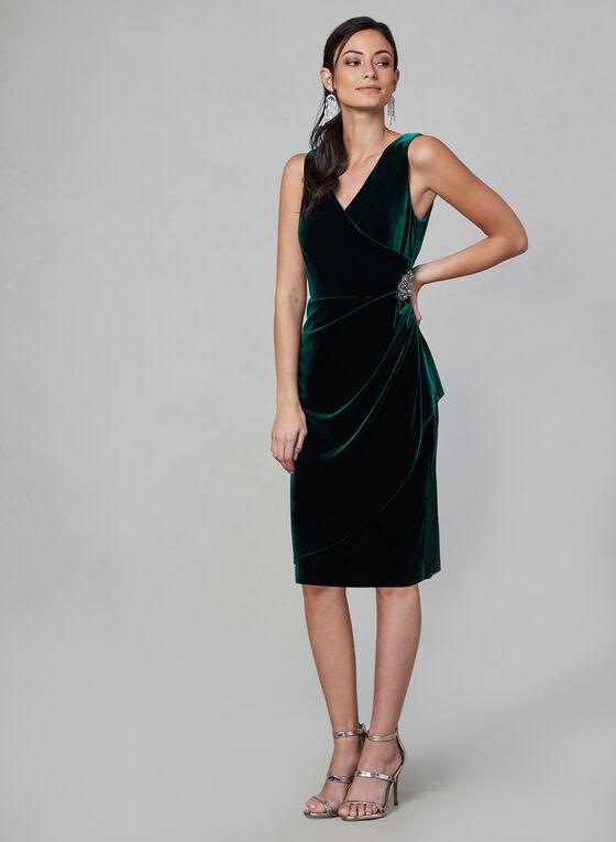 Alex Evenings -  Draped Velvet Dress , Green, hi-res