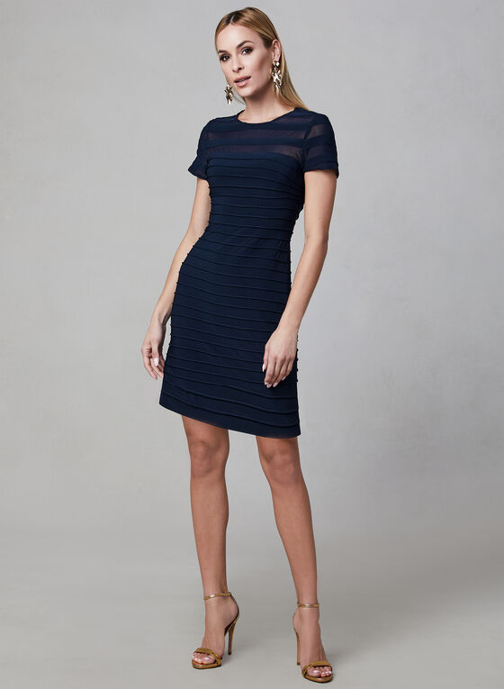 Adrianna Papell - Illusion Neck Dress, Blue, hi-res