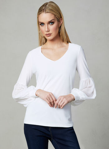 Balloon Sleeve Top, Off White, hi-res