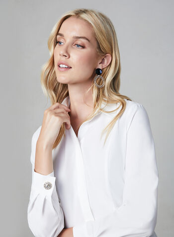Button Down Long Sleeve Blouse , Off White, hi-res,  blouse, tunic, long sleeves, rhinestone flower buttons, shirt collar, placket, hidden buttons, comfortable and stretchy, fall 2019, winter 2019