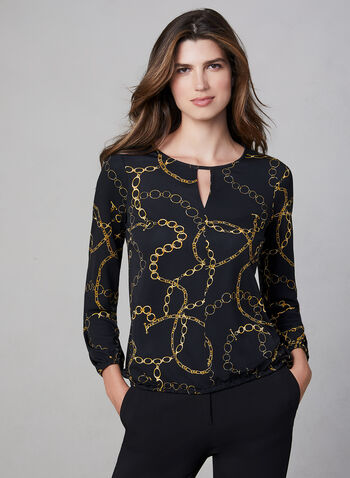 Chain Print Jersey Top, Black, hi-res,  Canada, jersey, top, long sleeves, keyhole, jersey, fall 2019, winter 2019