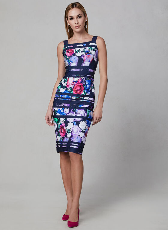 Adrianna Papell - Floral Print Scuba Dress, Blue, hi-res