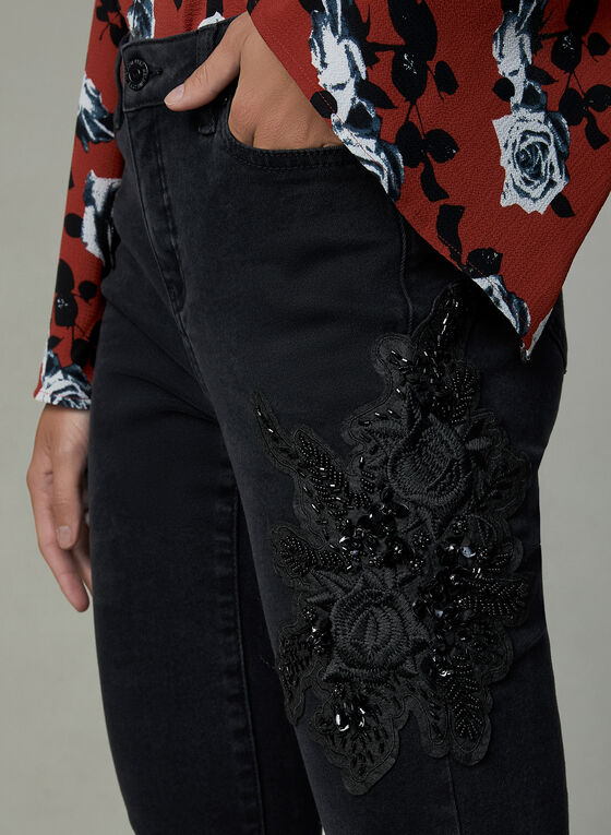 Sequin Appliqué Slim Leg Jeans, Black, hi-res