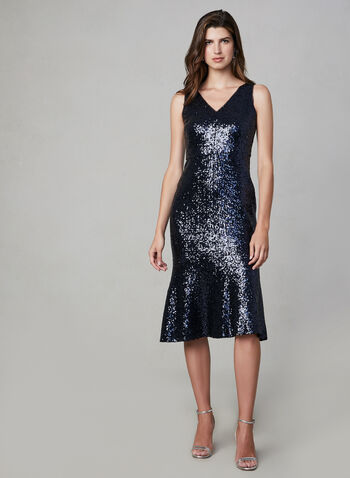 Maggie London – Sequin Mermaid Dress, Blue, hi-res,  glitter cocktail dress, sequnied dress, sleeveless, mermaid cut, fall 2019, winter 2019