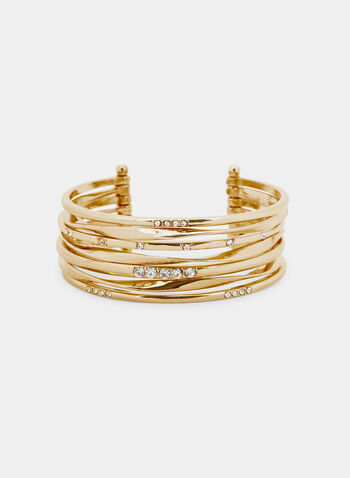 Multi Row Cuff Bracelet, Gold, hi-res
