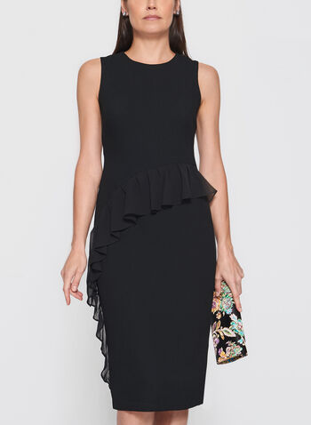 Maggy London - Chiffon Ruffle Trim Dress, Black, hi-res