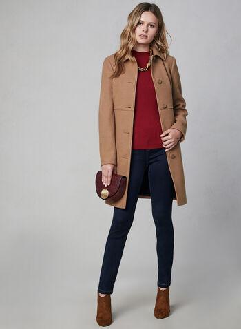 Novelti - Button Down Coat, Brown, hi-res,  Novelti, coat, button down, long sleeves, fall 2019, winter 2019