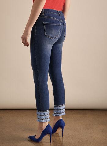 Fringe Detail Capri Pants, Blue,  capri, rhinestones, fringes, cotton, slim leg, pockets, stretchy, spring summer 2020