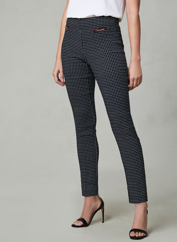 Dot Print Slim Leg Pants, Blue, hi-res