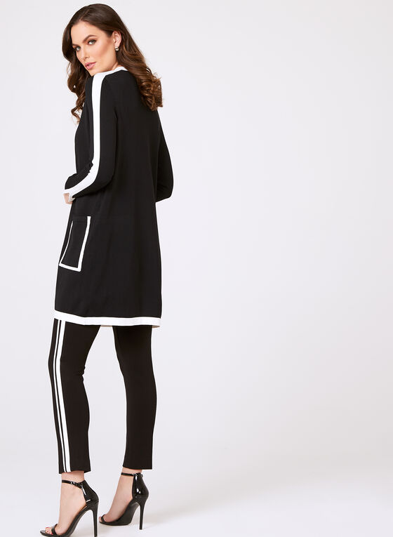 Contrasting Edge-to-Edge Knit Cardigan, Black, hi-res