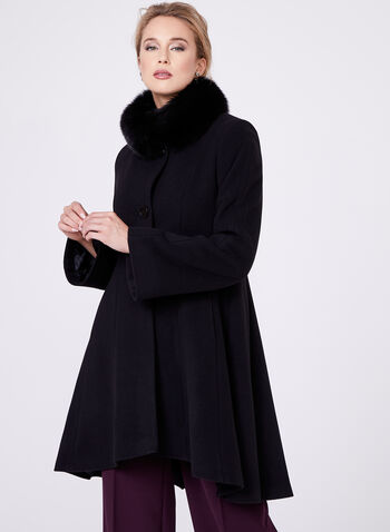 Mallia - Fur Trimmed Cashmere Blend Coat, Black, hi-res