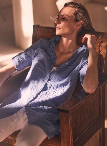 Tunique chemisier boutonnée, Bleu,  tunique, col chemisier, manches longues, poches, boutonnage, cordon, ourlet arrondi, printemps été 2021