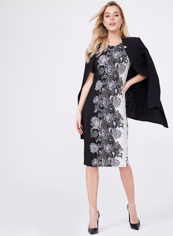 Nicole Miller - Robe fourreau imprimé floral, Noir, hi-res