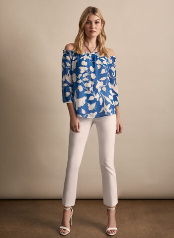 Floral Print Off-The-Shoulder Blouse, Blue,  blouse, floral print blouse, flower print, 3/4 sleeves, chiffon blouse, chiffon, spring 2020, summer 2020