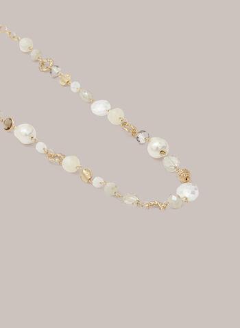 Collier long à perles et pierres, Blanc cassé,  automne hiver 2020, collier, bijou, accessoire, doré, perle, pierre