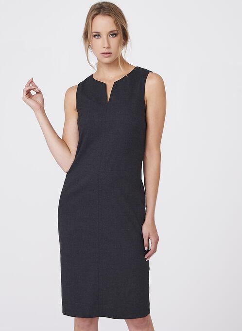 Louben - Split Neck Structured Dress, Grey, hi-res