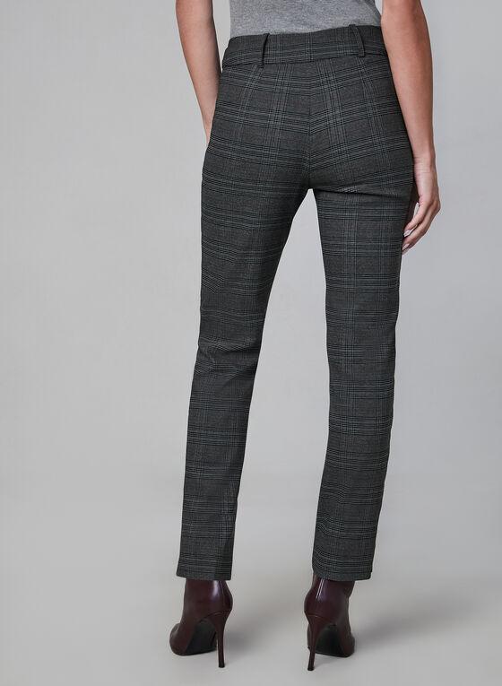 Pantalon à carreaux et jambe étroite, Gris