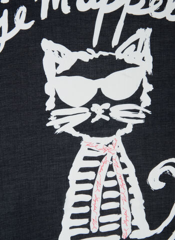 Karl Lagerfeld Paris - Choupette Motif Scarf, Orange,  scarf, cat, writing, cursive, modal, silk, spring summer 2020