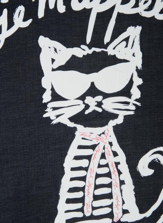 Karl Lagerfeld Paris - Foulard motif chat et écriture, Orange