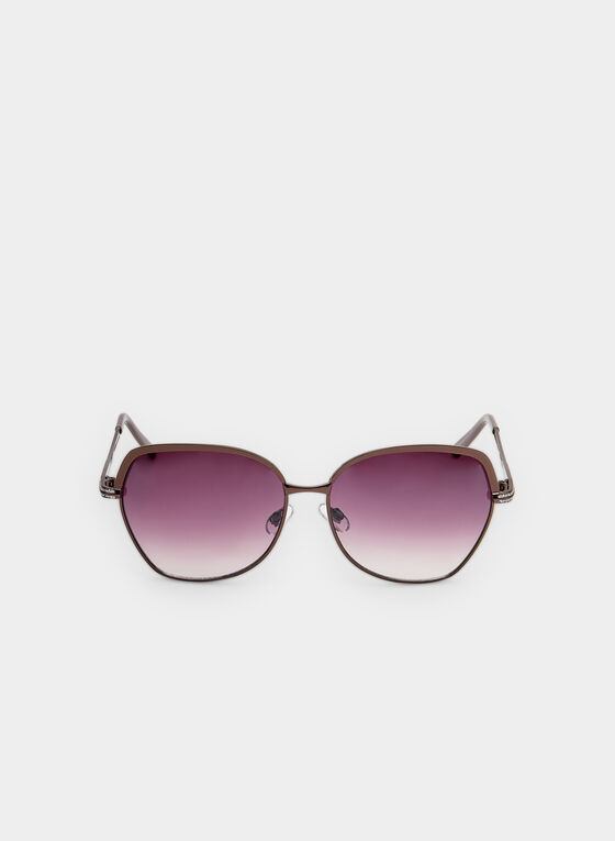 Wire Frame Sunglasses, Brown