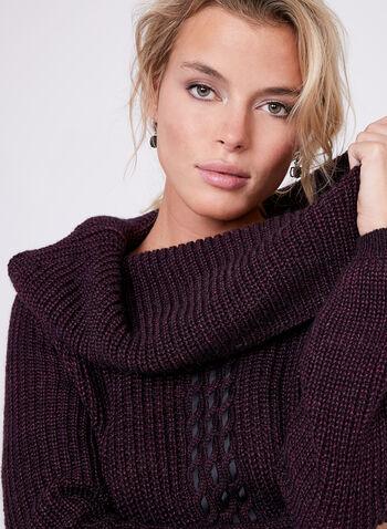 Pull en laine mélangée avec torsade et manches bouffantes, Violet, hi-res