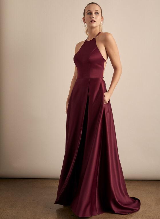 Cachet - Open Back Satin Dress, Purple