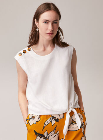 Linen Blend Knot Detail Blouse, Off White,  blouse, linen, cap sleeves, round neck, button details, spring summer 2020