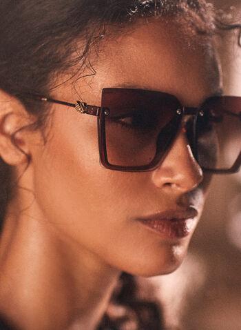 Lunettes de soleil surdimensionnées, Brun,  lunettes de soleil, forme carrée, surdimensionnées, métal, printemps été 2021
