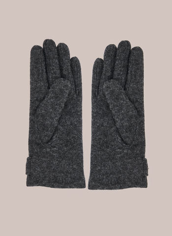 Faceted Stone Detail Wool Gloves, Grey,  gloves, wool, stone, faceted, fall winter 2020