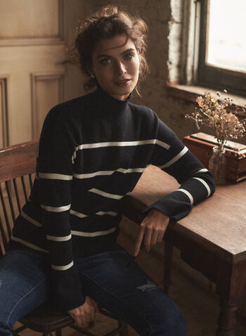 Striped Funnel Neck Sweater, Black,  fall winter 2020, sweater, funnel neck, striped, stripe print, turtleneck, comfort, stretch, warm, long sleeve