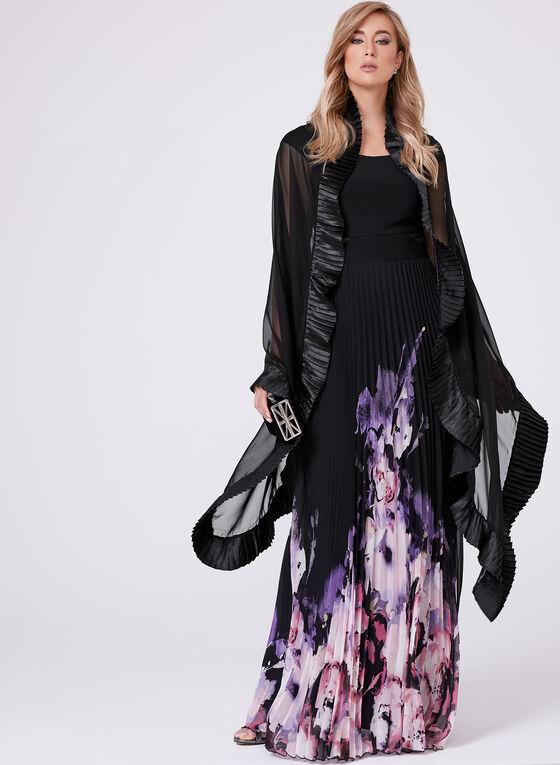 Echo - Foulard en mousseline avec ourlet plissé satiné, Noir, hi-res