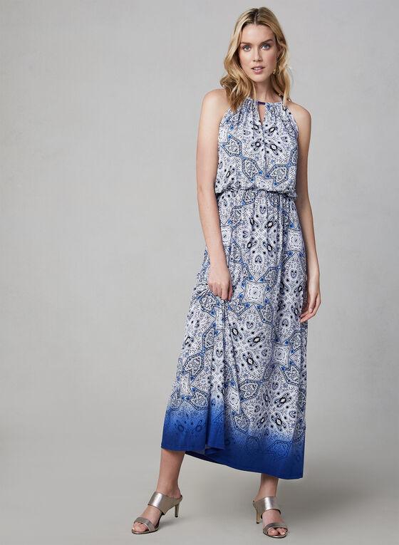 Maggy London - Robe longue à imprimé cachemire, Bleu