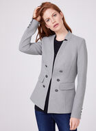 Notched Collar Blazer, Grey, hi-res