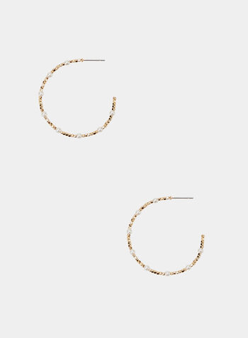 Pearl Detail Hoop Earrings, Off White, hi-res
